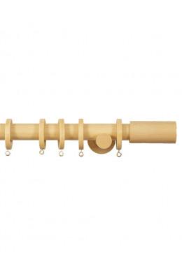 Trægardinstang Cilindro 19 mm fyr. Inkl beslag ringe samt skruer til fastgørelse